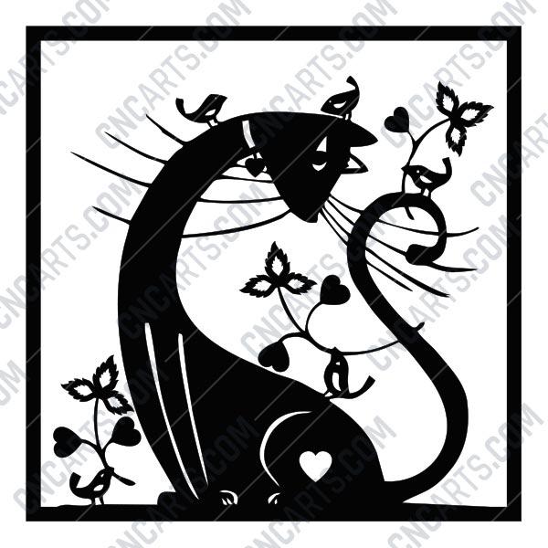 Cat Birds Flowers Scene Design Files Of Cnc Plasma Laser Router Cut Eps Ai Svg Dxf Cdr Cnc Arts Free Dxf File Downlads Cuttable Designs Cnc Cut Ready