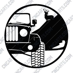 Jeep and Whitetail design files - EPS AI SVG DXF CDR