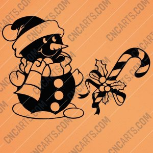 Snowman candy cane design files - EPS AI SVG DXF CDR