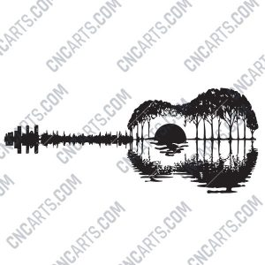 Guitar light painting design files - EPS AI SVG DXF CDR R00139