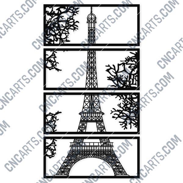 Wall Art Vector Design Pattern Eiffel Tower Svg Dxf Eps Ai Cdr Cnc Arts Free Dxf File Downlads Cuttable Designs Cnc Cut Ready Diy Home Decor