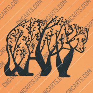 Bear Tree Art Vector Design file - DXF SVG EPS AI CDR