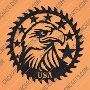 Patriotic Saw Blade Scroll Saw USA Flag American Vector Design files - DXF SVG EPS AI CDR