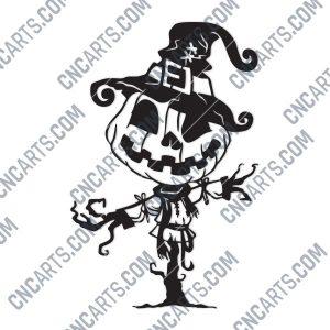 Pumpkin Scarecrow Art Vector Design file - DXF SVG EPS AI CDR