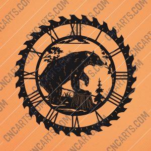 Bear wall clock Vector Design file - DXF SVG EPS AI CDR