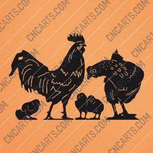 Chicken set vector design files - DXF SVG EPS AI CDR