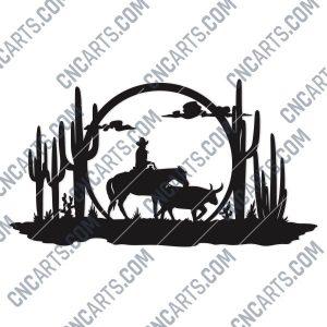 Cowboy Wall Art Vector Design file - DXF SVG EPS AI CDR