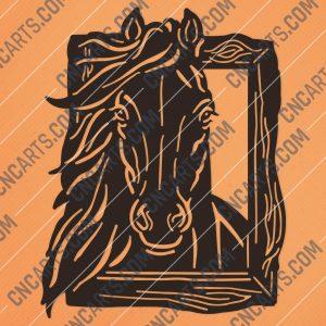 Horse face vector design files – DXF SVG EPS AI CDR