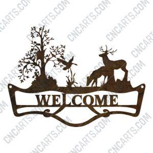 Welcome sign deer forest design files - DXF SVG EPS AI CDR