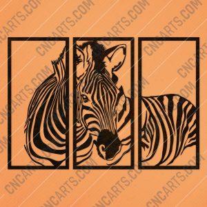 Zebra wall decoration design files - DXF SVG EPS AI CDR