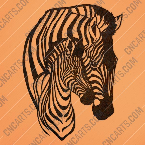 Zebra mother and child vector decoration design files - DXF SVG EPS AI CDR