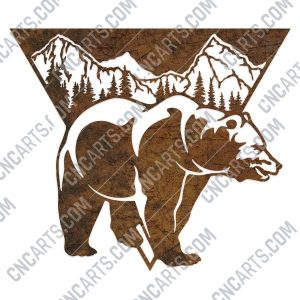 Bear triangle mountain tree pine design files - DXF SVG EPS AI CDR