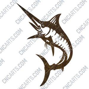 Blue marlin fish - DXF SVG EPS AI CDR