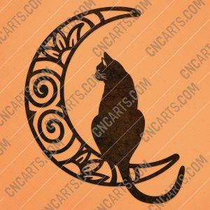 Cat moon vector design files - DXF SVG EPS AI CDR