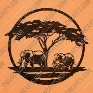 Elephant family walking towards a water - DXF SVG EPS AI CDR