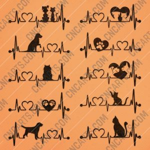 Heartbeat vector design files - DXF SVG EPS AI CDR