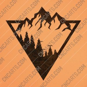 Triangle mountain tree pine design files - DXF SVG EPS AI CDR
