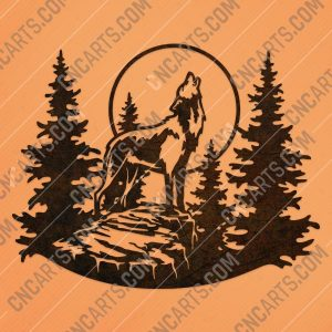 Wolf moon tree pine vector design files - DXF SVG EPS AI CDR