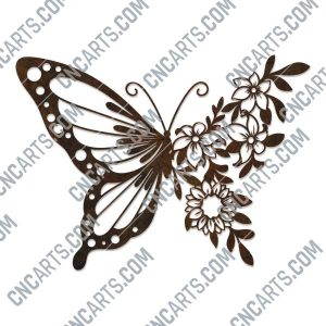 Butterfly flowers vector design files - SVG DXF EPS AI CDR