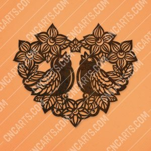 Heart flowers with birds vector design files - SVG DXF EPS AI CDR