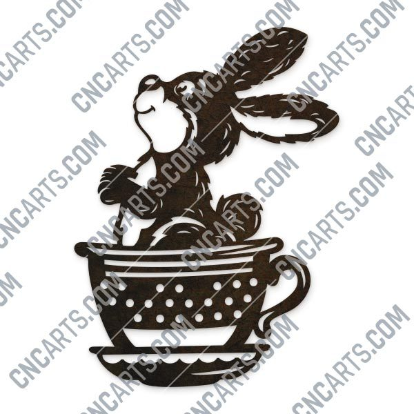 Cute bunny cup rabbit design files - DXF SVG EPS AI CDR